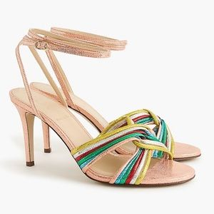 J Crew Rose Gold Rainbow heels, sz 8.5